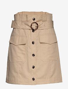 Paperbag Utility Skirt - short skirts - ecru
