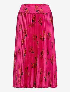 Floral Satin Pleated Midi Skirt - midi skirts - midnight floaty floral