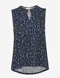 Print Soft Stretch Modal Keyhole Top - blouses sans manches - navy floral