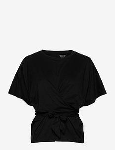 SUPIMA® Cotton Wrap Top - short-sleeved blouses - black k-100