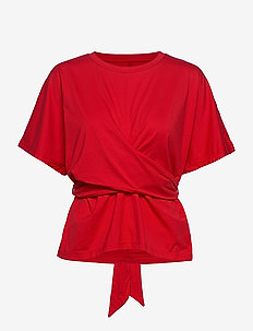 SUPIMA® Cotton Wrap Top - short-sleeved blouses - vamp red