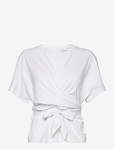 SUPIMA® Cotton Wrap Top - short-sleeved blouses - white000