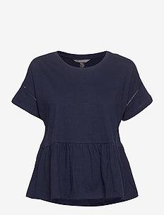 I SS PEPLUM TEE - short-sleeved blouses - preppy navy