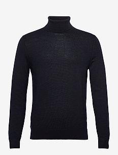 Italian Merino Turtleneck Sweater - basic knitwear - navy