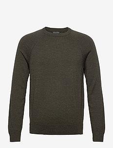 Italian Merino Crew-Neck Sweater - basic knitwear - dark green heather