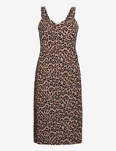 Print Bi-Stretch Sheath Dress - midi dresses - warm leopard