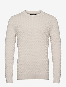 SUPIMA® Cable-Knit Sweater - basic knitwear - transition cream