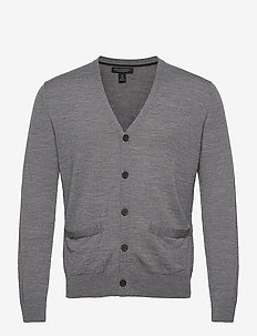 Merino Cardigan Sweater in Responsible Wool - tricots basiques - grey heather