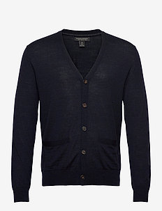 Merino Cardigan Sweater in Responsible Wool - stickade basplagg - navy heather