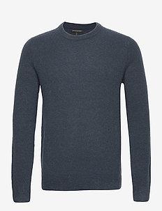 Wool-Blend Crew-Neck Sweater - knitted round necks - blue slate