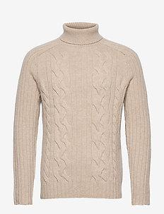 Italian Wool-Blend Turtleneck Sweater - basic knitwear - vintage tan