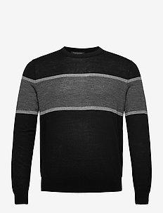 Merino Stripe Sweater in Responsible Wool - knitted round necks - black