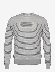 Merino Stripe Sweater in Responsible Wool - knitted round necks - light grey