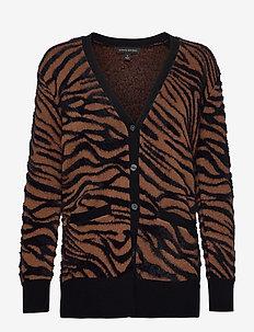 Fuzzy Animal Print Cardigan Sweater - koftor - warm zebra