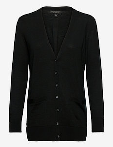 Merino Long Cardigan Sweater in Responsible Wool - gilets - black k-100