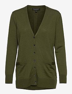 Merino Long Cardigan Sweater in Responsible Wool - cardigans - dark olive