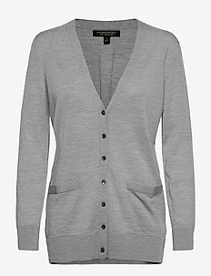 Merino Long Cardigan Sweater in Responsible Wool - cardigans - medium grey hthr b25