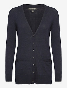 Merino Long Cardigan Sweater in Responsible Wool - vesten - midnight navy