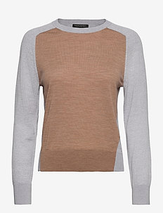 Washable Merino Color-Block Sweater - jumpers - neutral