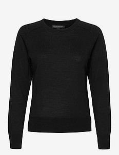 Washable Merino Crew-Neck Sweater - swetry - black