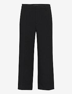 Slim Wide-Leg Cropped Pant - wide leg trousers - black k-100