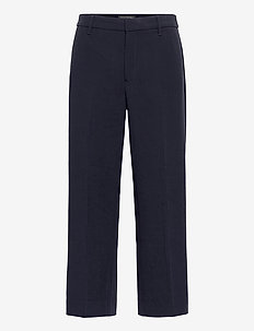 Slim Wide-Leg Cropped Pant - wide leg trousers - preppy navy