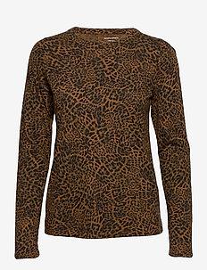 Slub Cotton-Modal Long-Sleeve T-Shirt - long-sleeved tops - black/leopard