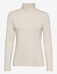 Fitted Lightweight Turtleneck T-Shirt - topy z długimi rękawami - cream f99
