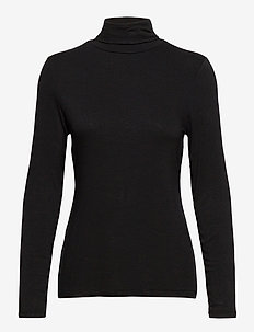 Fitted Lightweight Turtleneck T-Shirt - long-sleeved tops - true black
