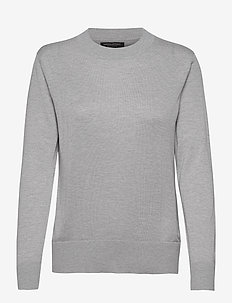 Silk Cashmere Relaxed Sweater - pullover - lt heather grey bc14