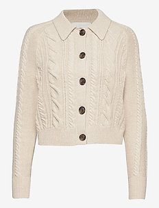 Heritage Cable-Knit Cardigan Sweater - vesten - ivory/white