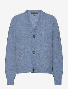 Oversized Blouson-Sleeve Cardigan Sweater - swetry rozpinane - light blue