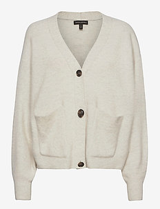 Oversized Blouson-Sleeve Cardigan Sweater - cardigans - light grey heather