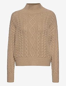 Cable-Knit Cropped Sweater - swetry - beige taupe