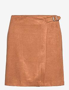 Vegan Suede Wrap Mini Skirt - short skirts - camel