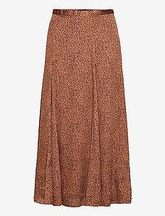 Satin Godet Midi Skirt - midi skirts - camel/animal print