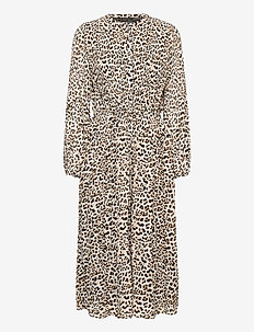 Pleated Midi Dress - robes midi - cheetah print