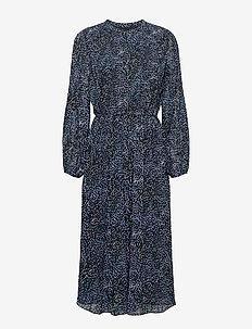 Pleated Midi Dress - robes midi - navy mini dot