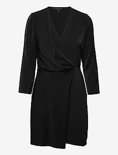 Drape-Front Dress - omlottklänning - black k-100