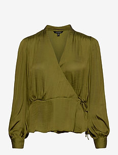 Soft Satin Wrap Top - long sleeved blouses - cinque terre