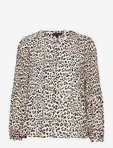 Print Pleated Shirt - bluzki z długimi rękawami - cheetah print