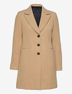 MELTON TOP COAT - wool coats - cool beige