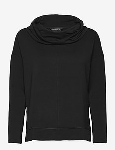 Baby Terry Funnel-Neck Top - long-sleeved tops - black