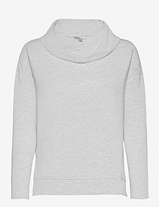 Baby Terry Funnel-Neck Top - long-sleeved tops - heather grey