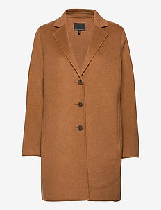 Unlined Double-Faced Top Coat - wool coats - dark camel