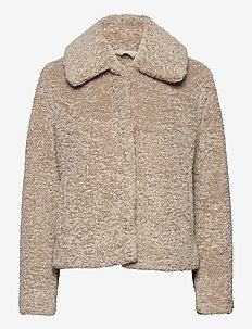 Sherpa Short Coat - faux fur - cool taupe