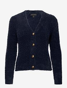 Fuzzy Cropped Cardigan Sweater - cardigans - preppy navy