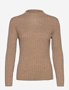 Merino Ribbed Sweater in Responsible Wool - jumpers - camel
