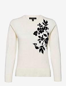 Washable Merino Floral Sweater - truien - soft white