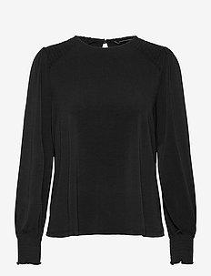 Wrinkle-Resistant Balloon-Sleeve Blouse - long sleeved blouses - black